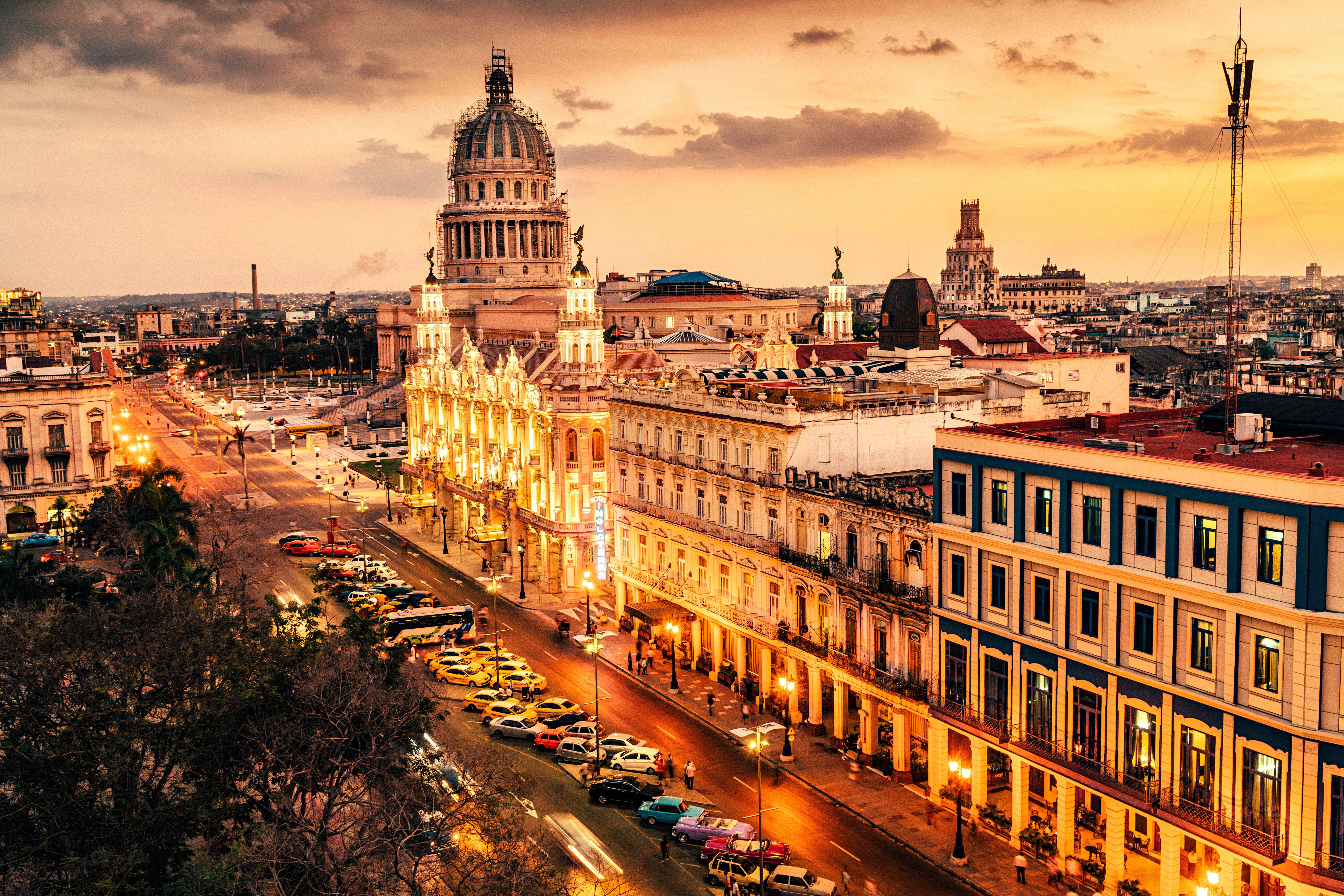 Skyline of Havana with Capitol building at dusk